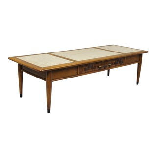 Vintage Mid -Century Modern Lane Style Travertine Top Walnut Long Coffee Table For Sale