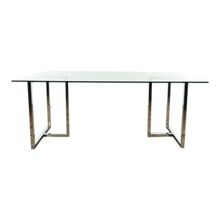 Modern Glass & Chrome Dining Table