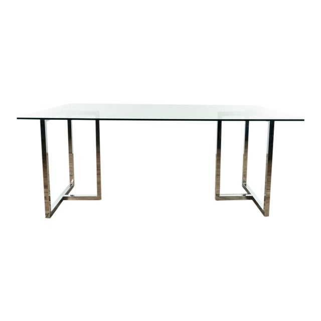 Modern Glass & Chrome Dining Table For Sale