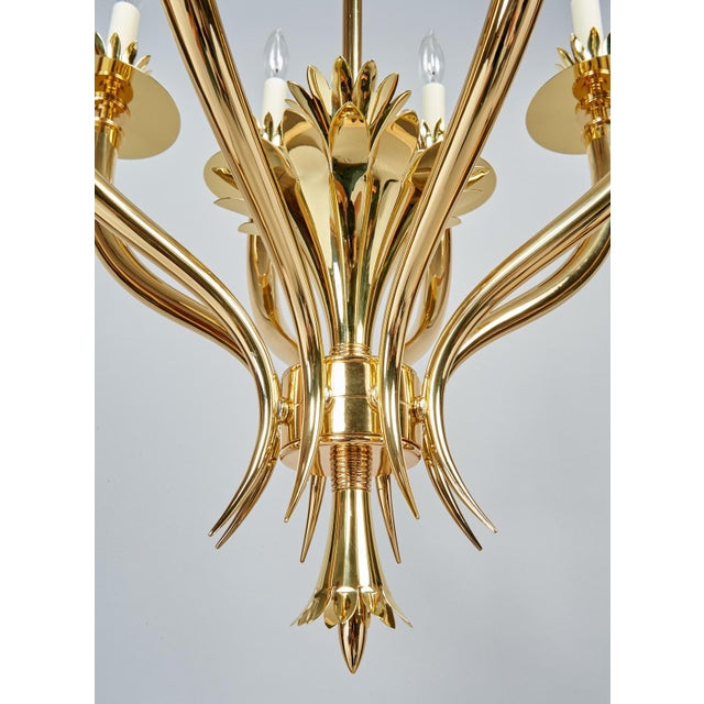 Gio Ponti Important Geometric 8-Arm Chandelier in Polished Brass, Italy 1930s For Sale - Image 9 of 11