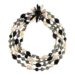 Francoise Montague Necklace Rhinestones Faux Pearls Black Beads French For Sale