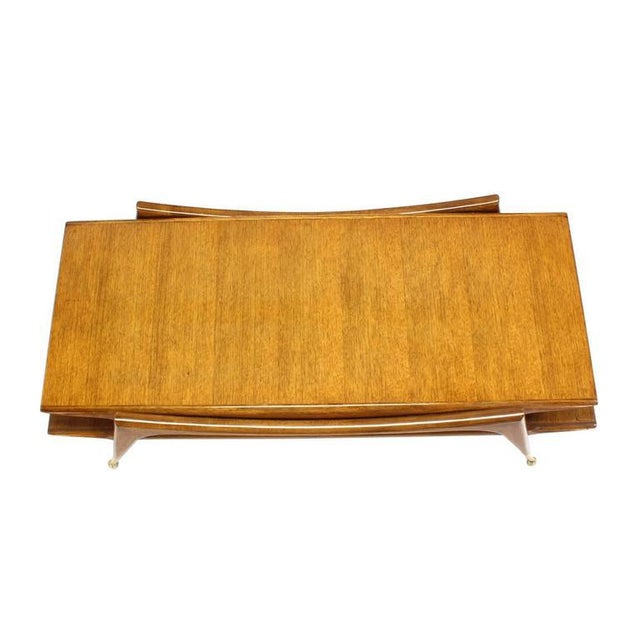 Early 20th Century Sculptural Base Two Tier Mid Century Modern Coffee Table on Metal Ball Feet For Sale - Image 5 of 6