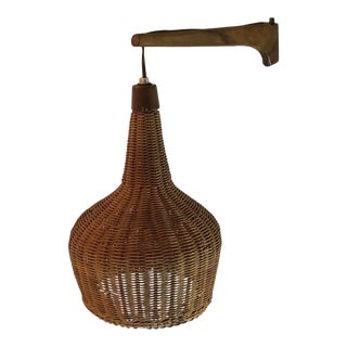 Mid-Century Danish Teak Swing Arm Wicker Shade Wall Mount Hanging Lamp/Wall Sconce For Sale