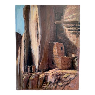 Vintage Alfred Ahronian Cliff Dwelling Oil Painting For Sale