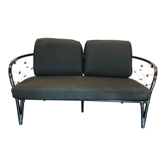 David Francis Outdoor Black and White Loveseat For Sale