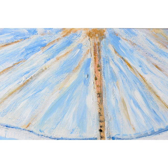 Oil on Canvas Umbrella Beach by Artist Jean Le Page For Sale In West Palm - Image 6 of 11