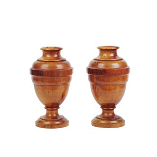 Early 20th Century Antique Solid Spun Wood Urns - A Pair For Sale
