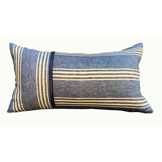 Country Blue Linen Striped Lumbar Pillow For Sale In Sacramento - Image 6 of 6