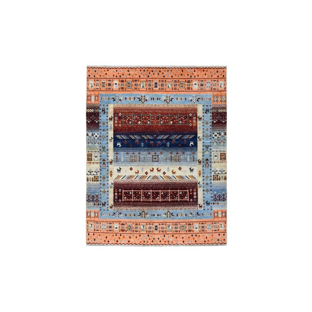 Textile Wool Kashkuli Gabbeh Pictorial Hand Knotted Rug For Sale - Image 7 of 7