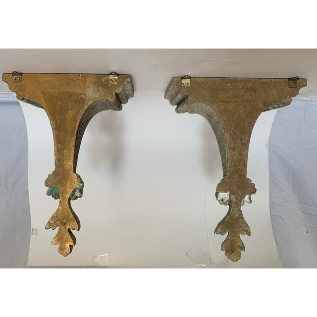 Italian 1950s Vintage Italian Carved and Painted Wood Corbel Brackets - a Pair For Sale - Image 3 of 12