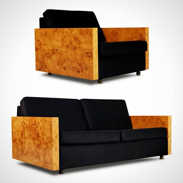 1970s Vintage Burl Wood Case Sofa and Lounge Chair by Milo Baughman For Sale - Image 11 of 11