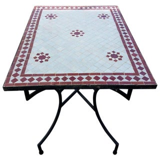 Moroccan Rectangular Mosaic Side Table For Sale