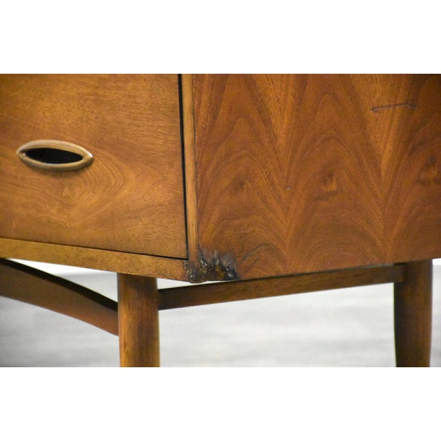 1960s Broyhill Sculptra Walnut Long Dresser For Sale - Image 5 of 11