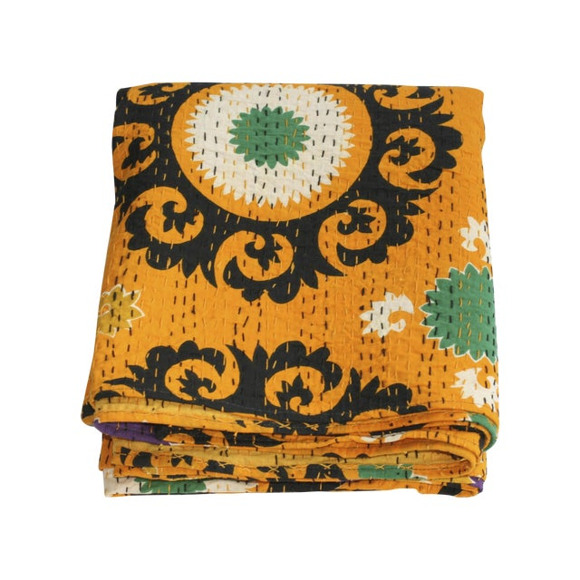 Yellow Kantha Suzani Throw - A Full For Sale