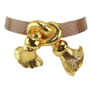1988 Christopher Ross Large Knotted Tassel Buckle & Belt For Sale