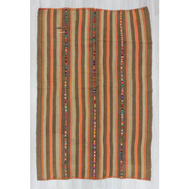 Vintage Brown and Orange Striped Decorative Turkish Kilim Rug - 4′9″ × 7′3″ - Image 2 of 6