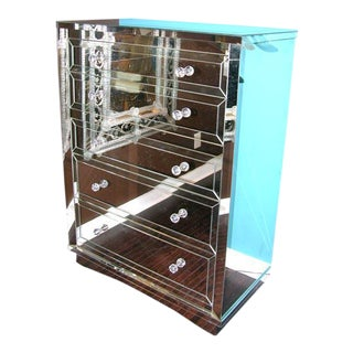 Custom Five Drawer Neo-Classical Mirrored Highboy For Sale