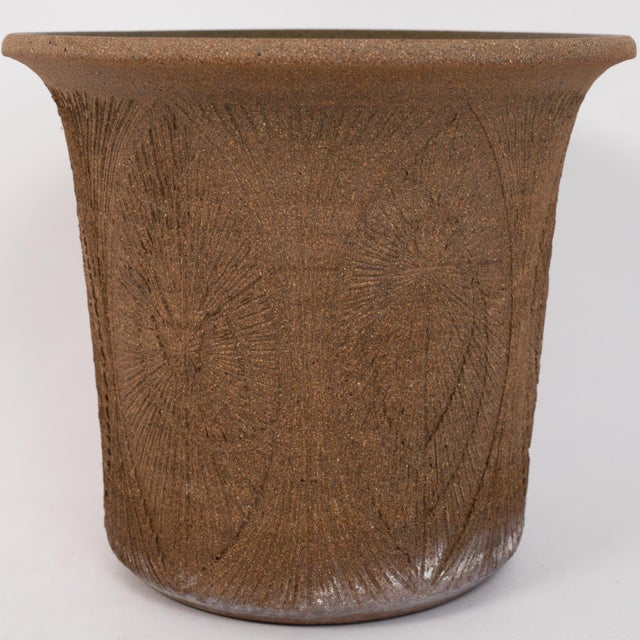 Ceramic Robert Maxwell Incised Studio Pottery Planter with Flared Lip For Sale - Image 7 of 12