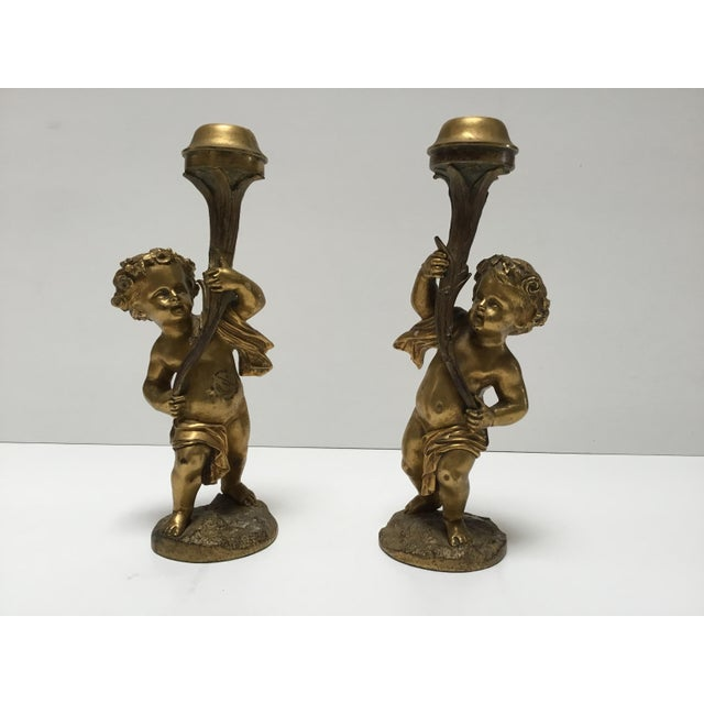 Antique French Cherub Bronze Dore Candlesticks - a Pair For Sale In Los Angeles - Image 6 of 6