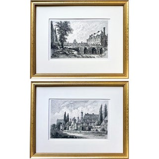 Antique Original Etchings of French Chateau Anet by D. Lancelot a Pair C.1860 For Sale