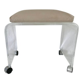 Vintage Mid Century Modern Large Waterfall Lucite Acrylic Taupe Faux Leather Padded Vanity Stool Beveled Edge For Sale