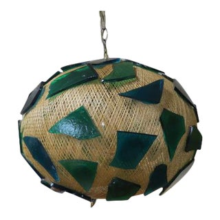 Vintage Mid Century Modern Blue and Green Swag Hanging Light, C .1960. For Sale