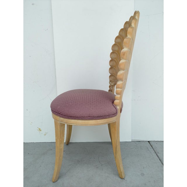 Mid 20th Century Vintage Hand-Carved Shell Backed Side Chair For Sale - Image 5 of 9