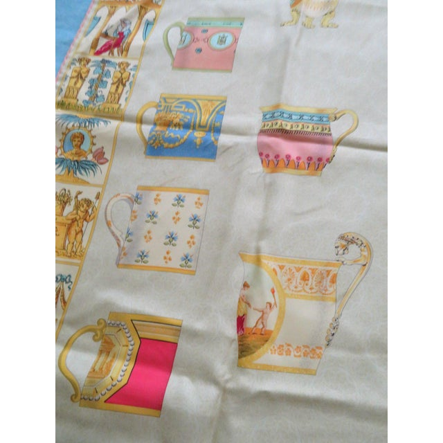 """Traditional Vintage Gucci """"High Tea"""" Silk Scarf For Sale - Image 3 of 9"""