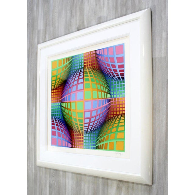 Mid-Century Modern Mid-Century Modern Large Pop Op Art Framed Lithograph by Victor Vasarely 275/300 For Sale - Image 3 of 8