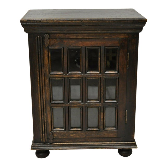 Vintage British Colonial Style Small One Door Wooden Curio Display Cabinet For Sale