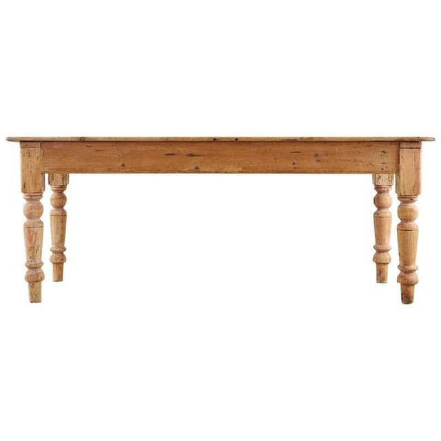 19th Century American Country Pine Farmhouse Dining Table For Sale - Image 13 of 13