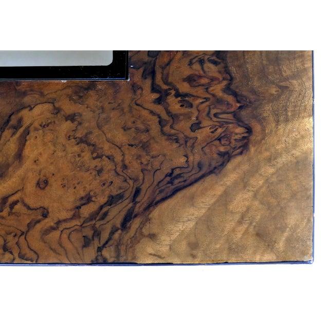 Wood Vintage Burlwood & Beveled Glass Coffee Table For Sale - Image 7 of 9