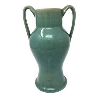 French Terra Cotta Turquoise Salt Glaze Pottery Double Handle Vase