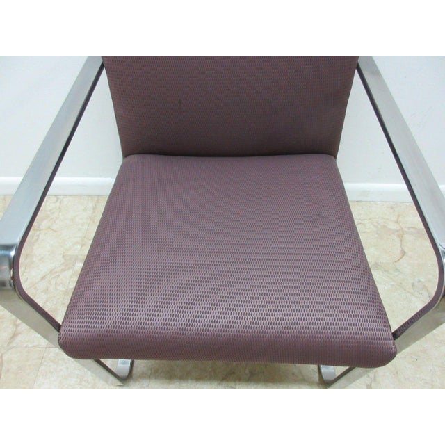 Modern Vintage Chrome Flat Stock Club Chair For Sale - Image 3 of 9