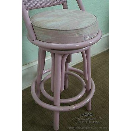 Clark Casuals Vintage Set of 4 Painted Rattan Bar Stools For Sale - Image 10 of 13