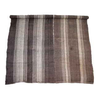 Vintage Turkish Flat Weave Rug in Brown and Taupe Stirpes For Sale