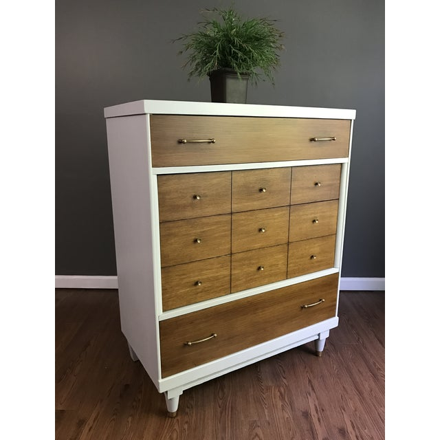 Two-Tone Mid-Century Modern Highboy Dresser For Sale - Image 9 of 11