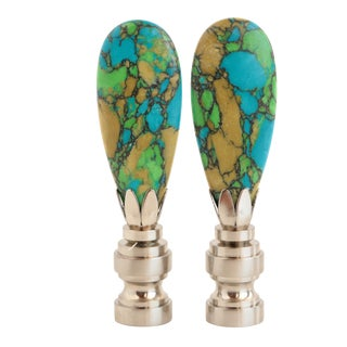 Dappled Turquoise Lamp Finials- a Pair For Sale