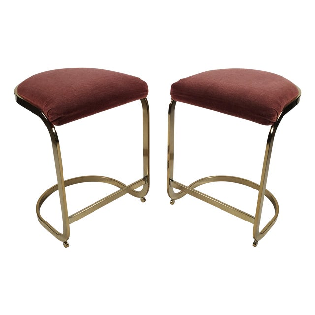 Milo Baughman Style Cantilever Bar Stools - A Pair For Sale