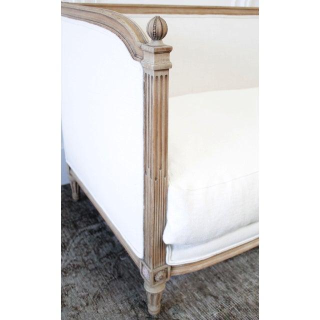Antique Louis XVI Sofa Bleached Oak and Natural Linen SKU Number: 5142-012084 Description: Antique Louis XVI daybed sofa...