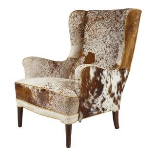 Frits Henningsen Hide Upholstered Wingback Chair For Sale