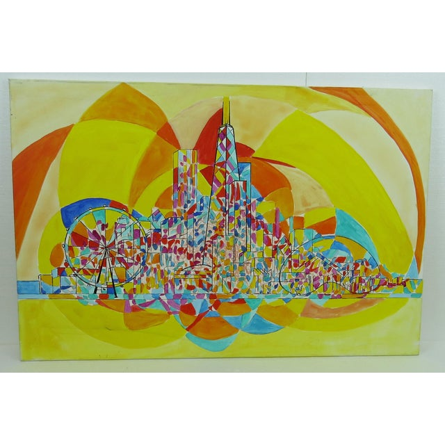 Original 2013 Pia Bacca post impressionist oil on canvas of Chicago cityscape. Vibrant colors of iconic Chicago skyline...