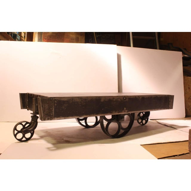 Metal Antique American Industrial Steel Cart Coffee Table For Sale - Image 7 of 8