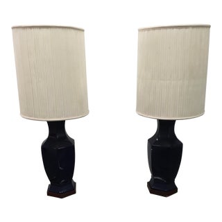 Morris Greenspan Cobalt Blue Urn Lamps With Shade - a Pair For Sale