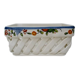 Portuguese Woven Porcelain Planter For Sale