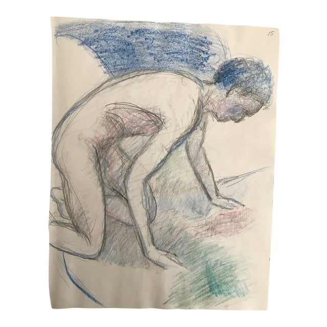 1980s Posing Male Model Studio Drawing For Sale