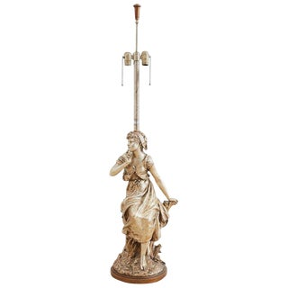 Marbro Hollywood Regency Silver Gilt Figural Lamp For Sale