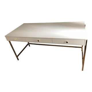 Modern Executive White and Gold Desk For Sale
