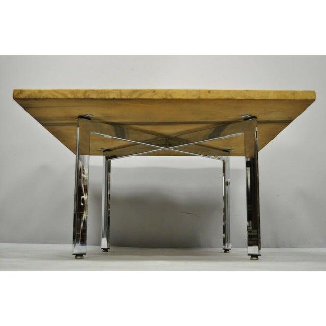 Tan Milo Baughman Mid Century Modern Burl & Chrome Burlwood Square Coffee Table For Sale - Image 8 of 10
