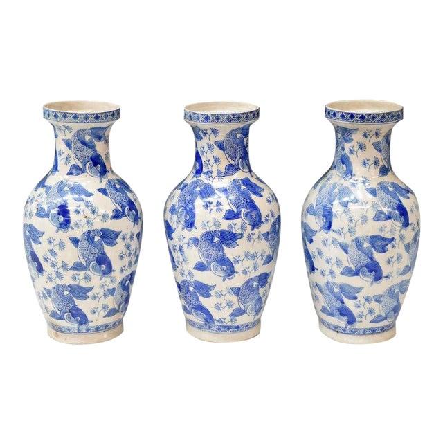 Chinese Blue & White Porcelain Fish Vases - Set of 3 For Sale